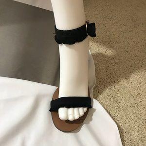 NIB Black Fringed Fabric J Crew Sandals